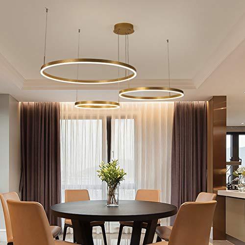 LED Esstischlampe Pendelleuchte Kronleuchter Wohnzimmer Dimmbar Mit Fernbedienung Modern Kreativ Pendellampe Ring Rund Aluminium Acryl Deckenleuchte Esszimmer Hängelampe,Braun,3laps40+60+80cm