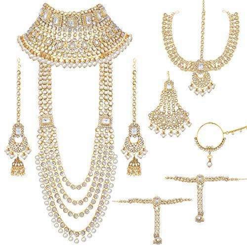 Aheli Juego de joyas de novia de estilo étnico indio tradicional de Bollywood con pendientes de gargantilla Maang Tikka Hathphool para mujeres blanco