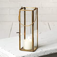 Attractive and Graceful Thin Hayworth Gold Metal Lantern Candle Holder - Antique Brass Rustic Indoor / Outdoor Candle Lantern for Your Home decor - Can Fit 2 Inches Pillar Candle.