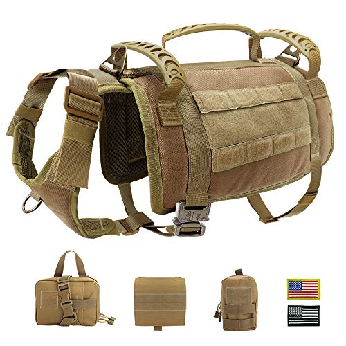 PET ARTIST Tactical Dog Harness with 3 Handles & 3 Leash Clips & 2 Metal Buckles, Military Working Dog Molle Vest with Pouches & Patches, No Pull Dog Training Harness for Medium Large Dogs,L