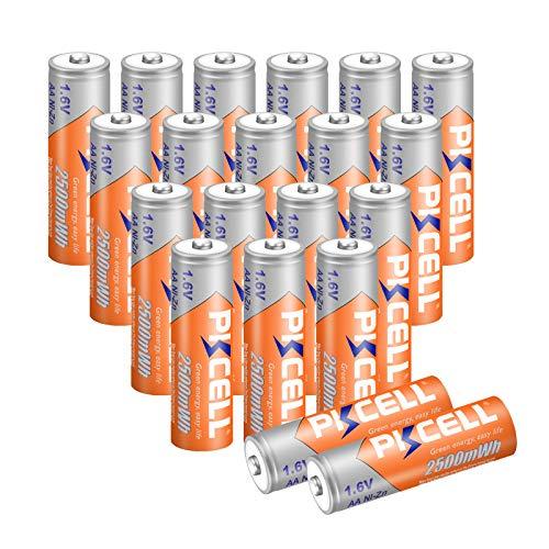 NIZN AA Ricaricabili 1.6V 2500mWh Batterie (20 pezzi, AA)