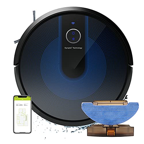 cybovac E31 Robot Vacuum and Mop, Sweeping Robotic Cleaner, Smart Navigation with 2200Pa Strong Suction, 150min Runtime, Carpet Boost, APP & Alexa Control, Ideal for Pets Hair, Hardwood Floor, Black