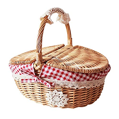 SONG Picnic Basket With Lid And Liner Wicker Woven Storage Baskets, Picnic Food Beverage Holder Storage Container Rattan Basket, Outdoor Storage Organizer (Color : Red)
