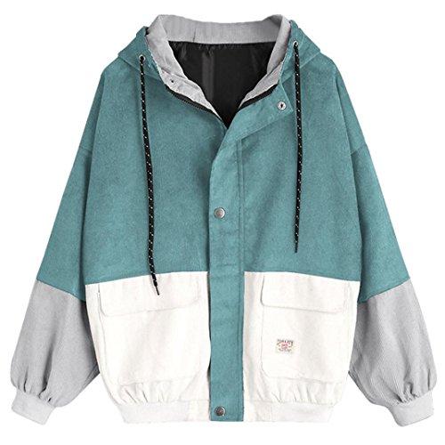 NPRADLA 2020 Herbst Winter Lose Damen Windbreaker Jacke Gefüttert Langarm Frauen Jacke Mantel Cord Patchwork Große Größen