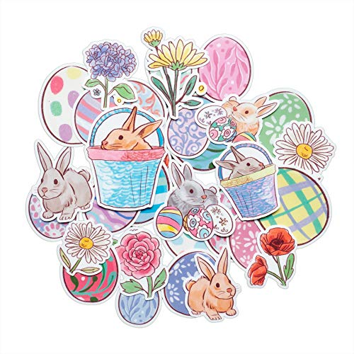 Navy Peony Spring Easter Sticker Set (34 Pieces)- Cute, Waterproof, Durable | Watercolor Bunny and Easter Egg Stickers for Crafts, Scrapbook, Journals | Pastel Decals for Laptops and Water Bottles