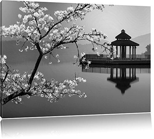 belle cerise noire sur mer du Japon / blanc Taille: 120x80 sur toile, énorme XXL Photos complètement encadrée avec civière, art impression sur murale avec cadre, moins cher que la peinture ou la peinture à l'huile, aucune affiche ou un poster