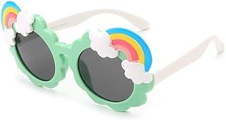 HQPCAHL - Gafas De Sol Polarizadas para Niños para Niños Y Niñas Marco De Goma Flexible Protección UV400 Gafas De Sol Polarizadas con Arco Iris De Flores Lindas para Niños De 3 A 12 Años