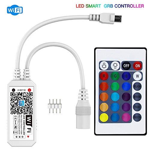 LXSINO Smart LED WiFi Controller con telecomando a 24 tasti Compatibile con Alexa/Google Home per RGB LED Light Strip con dimmer Timer Funzione On/Off Supporto Magic Home Pro APP
