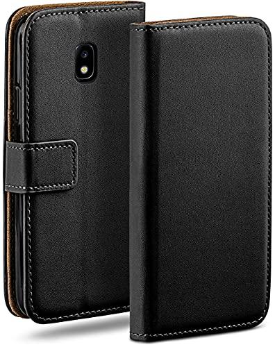 moex Klapphülle kompatibel mit Samsung Galaxy J3 (2017) Hülle klappbar, Handyhülle mit Kartenfach, 360 Grad Flip Hülle, Vegan Leder Handytasche, Schwarz