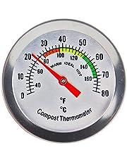 Komposttermometer – rostfritt stål urtavla termometer för hem och bakgårdskompostering – 50 mm diameter C&F-urtavla, 295 mm temperatursond kompostaccelerator