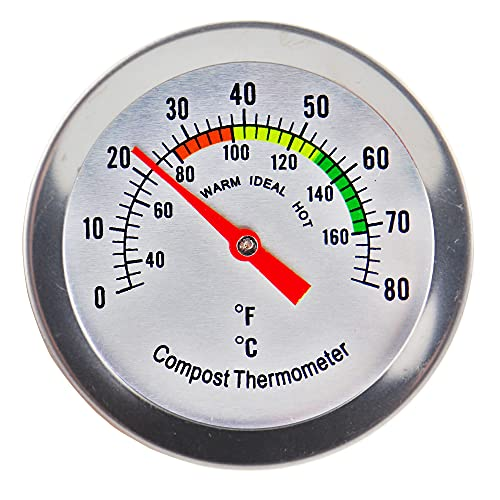 Compost Thermometer Stainless Steel Dial - Ideal Composting Soil Thermometer with 50MM Diameter C and F Dial and 295MM Compost Temperature Gauge Probe