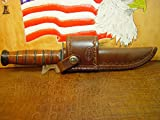 KA-BAR Full Size US Marine Corp Fighting Knife crossdraw Brown Sheath.