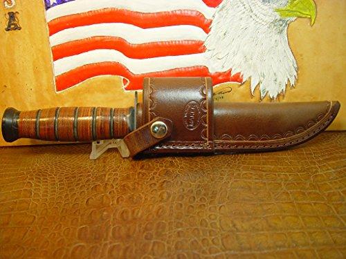 KA-BAR Full Size US Marine Corp Fighting Knife crossdraw Brown Sheath.