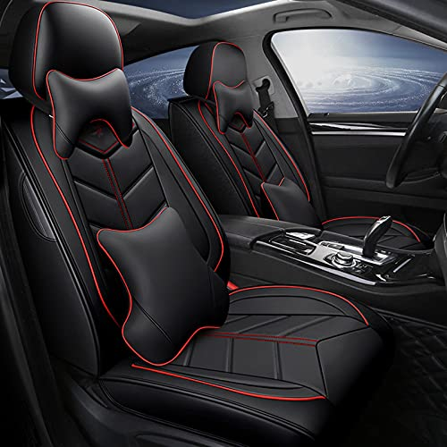 Auto Sitzbezüge Set, Vorn und Hinten 5 Sitze, Kompletter Satz Universal-Ledersitzbezüge für Vier Jahreszeite,Schwarz