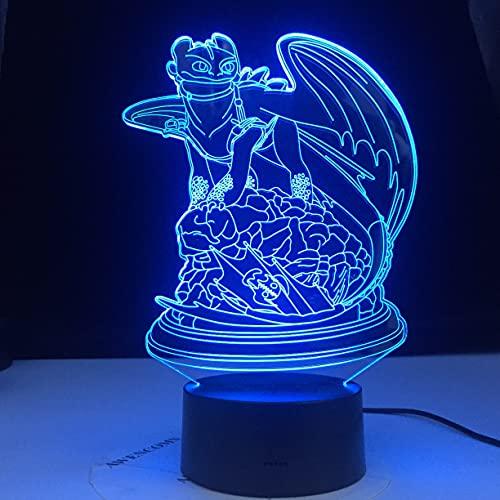Control táctil, luz nocturna 3D Tu dragón Lámpara Dragón sin dientes Lámpara Ilusión táctil Lámpara de mesa 3d Luz nocturna Regalo de cumpleaños Decoración para el hogar