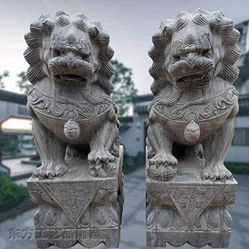 LULUDP-Decoración Las estatuas de los Leones de Pekín Par Fu Foo Perros Chinese Ornaments decoración Tradicional China Auspicioso Animal Bluestone alejar el Mal de Energía Manualidades