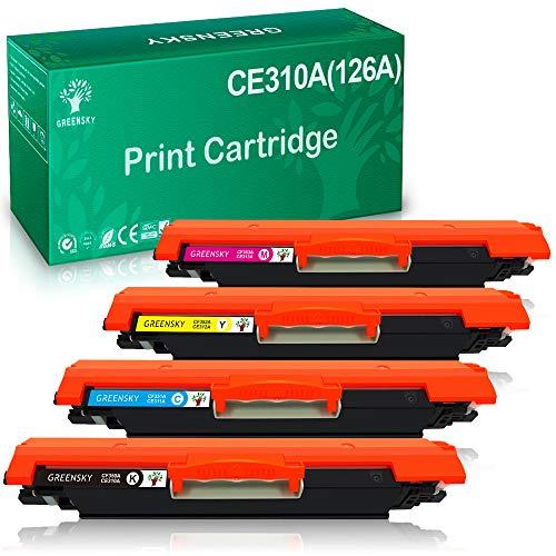 GREENSKY Sostituzione cartuccia toner compatibile per HP 126A (CE310A) 130A (CF350A) per HP Laserjet Pro 100 Color MFP M175 M175nw M275 M275NW M176 M176FN M177 M177FW CP1025 CP1025nw (Pacco da 4)
