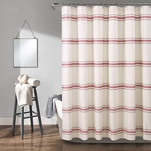 Lush Decor, Red Farmhouse Stripe Shower Curtain, 72u0022 x 72u0022