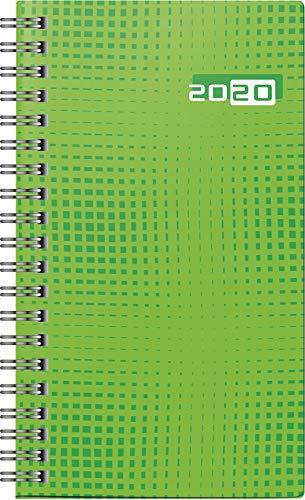 rido/idé 701690701 Taschenkalender Taschenplaner int. (2 Seiten = 1 Woche, 87 x 153 mm, Grafik-Einband, Kalendarium 2020, Wire-O-Bindung) grün