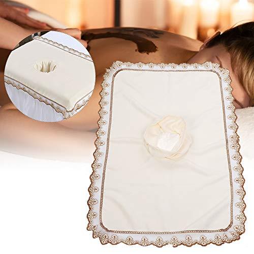 Spa-massagetafel-voorblad, massagebed-hoes met gat Massage-hoeslaken SPA-behandelingsbedovertrek voor schoonheidssalon Spa, elastische koordrand(Whtie)
