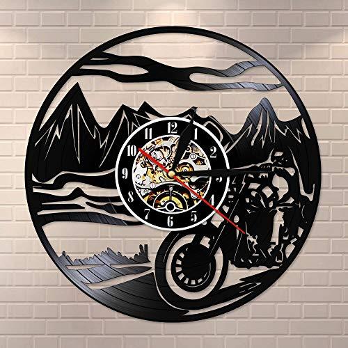 Reloj de pared de vinilo para motocross, para habitación de niño, decoración del hogar, moto de motocross, carreras de motor y jinete