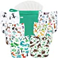 wegreeco Washable Reusable Baby Cloth Pocket Diapers 6 Pack + 6 Bamboo Inserts (with 1 Wet Bag, Forest, Animals) by wegreeco