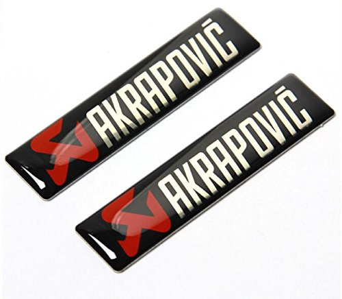 paxten (TM) 2x Universal 60x 14mm für Akrapovic Scarico Emblem Logo Aufkleber Badge Aufkleber Auto Motorrad Epoxy