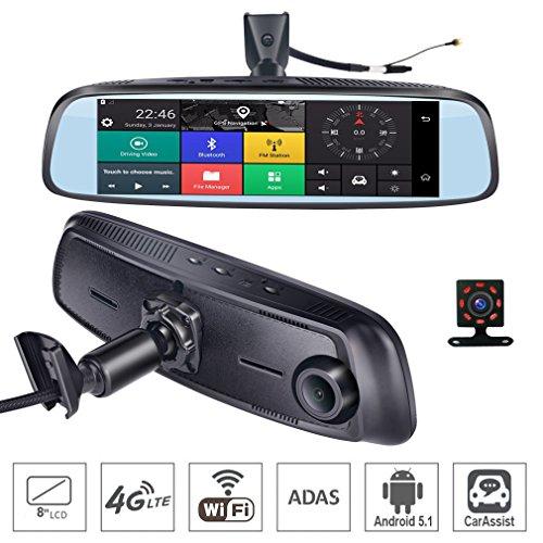 SZKJ K820 - Espejo retrovisor para salpicadero de Coche con GPS Bluetooth WiFi Android 5.1 FHD 1080P, 8 Pulgadas, 4 G Touch IPS