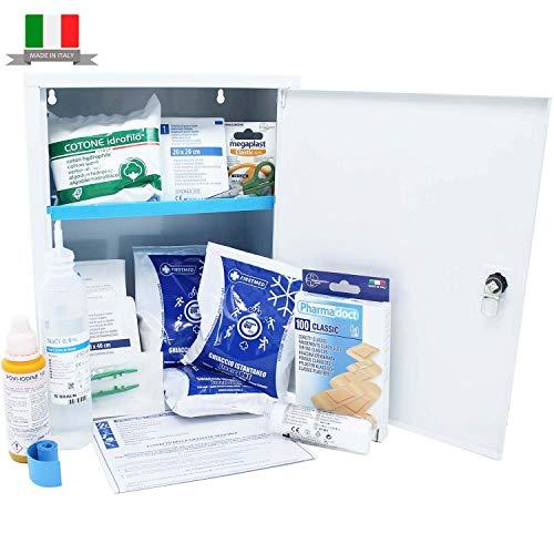 Firstmed - Armadietto dei medicinali completo di prodotti per il primo soccorso.