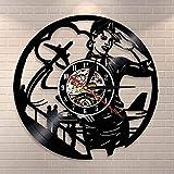 Nfjrrm Reloj de Pared Vintage de azafata Profesional de aerolínea piloto de la aerolínea decoración del hogar azafata Reloj de Pared con Registro de Vinilo para Mujer de 12 Pulgadas