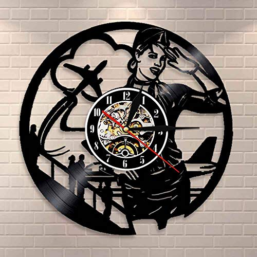 BFMBCHDJ Airlines Stewardess Professionelle Wanduhr Vintage Airline Pilot Sign Home Decor Flugbegleiterin Lady Vinyl Record Wanduhr