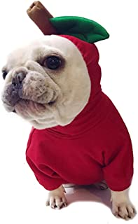 Amakunft Apple Pet Costume, Christmas Dog Hoodie for Pitbull Halloween Fruit Cosplay Coat for Party Special Events Costume Puppy Jumpsuit Cat Jacket Clothes