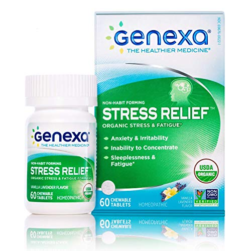 Genexa Stress Relief - 60 Tablets   Certified Organic & Non-GMO, Physician Formulated, Homeopathic   Sleep Aid (Stress Relief, 1 Pack)