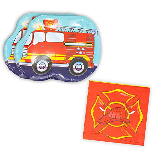 Fire Truck Shaped Plate & Napkin Sets (35+ Pieces for 16 Guests!), Firefighter Birthday Supplies, Fire Truck Tableware Sets, Fireman Party Decorations