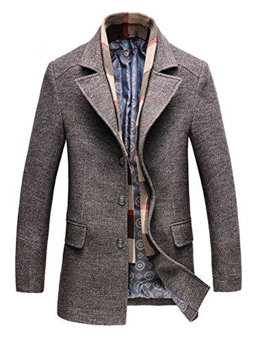 KJHSDNN Manteau Laine Homme Hiver Chaud Trench-Coat Caban Elégant Pardessus Veste Slim Fit Casual