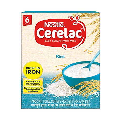 Nestlé CERELAC Baby Cereal with Milk, Rice – From 6 Months, 300g BIB Pack