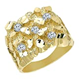 TousiAttar Mens Gold Nugget Diamond Ring – 14k or 18 karat Yellow Cluster Band Engagement - Nice Jewelry Pinky Ring Gift for Men's & boyfriend and Dad