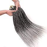 Geyashi Hair 22 Inch 6 Packs/Lot Ombre 1B/Grey Senegalese Twist Crochet Hair Braiding Hair Extensions 30 Strands/Pack 2S Soft Crochet Hair Senegalese Twist Light Weight Crochet Twist Hair