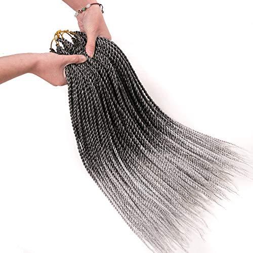 Geyashi Hair 18 Inch 6 Packs/Lot Dark Roots Grey 2S 1B/Grey Senegalese...