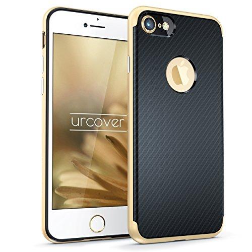 Urcover Funda Carbon Defense para Apple iPhone 7 Plus | Carcasa Doble Estuche Protección + Bumper Antichoque en Dorado