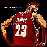 レブロン・ジェームズ NBA クリーブランド・キャバリアーズ #23 海外スポーツ グラフィックアートパネル 木製 壁掛け ポスター インテリア用 (26*26cmアートパネルのみ)