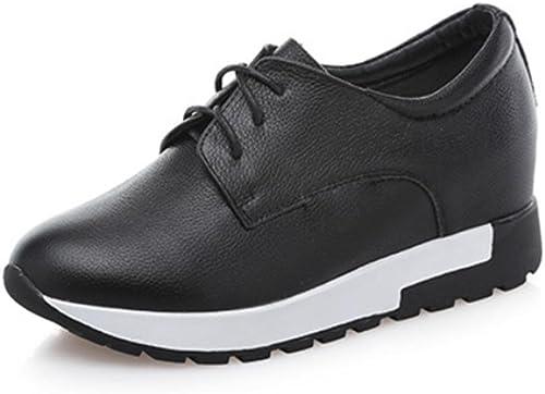Mme Spring Spring Chaussures D'Ascenseur Chaussures de Dentelle Chaussures de Sport pour Aider à Faible Pente avec des Chaussures Blanches, noir, US6 EU36 UK4 CN36  juste pour toi