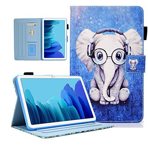 KEROM Funda para Samsung Galaxy Tab A7 10.4 2020, piel sintética, antigolpes, con función atril, Smart Cover para Samsung Tab A7 Funda T500/T505/T507, 10,4 pulgadas, diseño de elefante musical