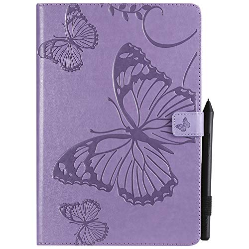 Tablet Cover TPU Bumper With Stylus Pen Holder Magnetic Clasp Butterfly Embossed Flip Leather Wallet Case Kickstand Function Fit for Samsung Galaxy T830/T835/Tab S4