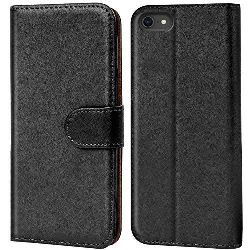Verco iPhone 8 Hülle, Handyhülle für Apple iPhone 7, iPhone SE 2 (2020) Tasche PU Leder Flip Hülle Brieftasche - Schwarz