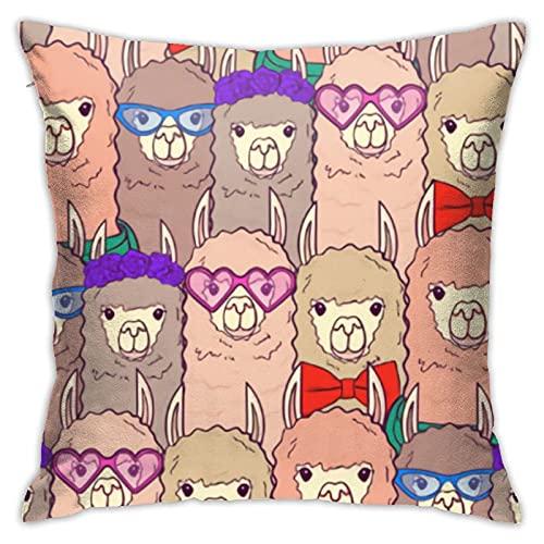 QQIAEJIA Cute Lamas con Gafas Bufanda Impresión Funda de Almohada Decorativa para el hogar para Hombres / Mujeres Sala de Estar Dormitorio Sofá Silla 18X18 Pulgadas Funda de Almohada 45X45cm