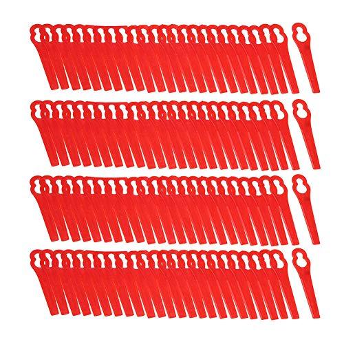 starnearby Ersatzmesser-Set Rasentrimmer-Zubehör 100 Stück Kunststoffmesser für Akku-Rasentrimmer Bosch, Einhell, großen Lochdurchmesser is 12 mm, kleine Lochdurchmesser 7 mm (rot)