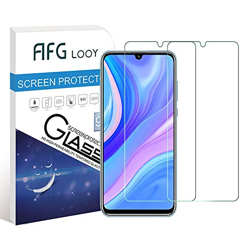 AFGLOOY 2Pack,Compatible for Huawei Y8p/ Huawei P Smart S Screen Protector, Tempered Glass with 9H Hardness, Scratch Resistant, Anti-Oil, 2.5D Round Edge