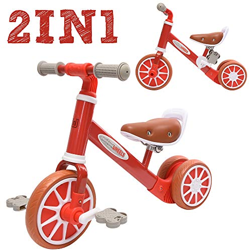 ChromeWheels 2 in 1 Balance Bike Toddler Trike for 2-4 Years Old Kids, 3-Wheels with Detachable Pedal, Best Gifts Riding Toys for Girls Boys, Red