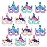 com-four 12x Máscaras de Unicornio para niños [selección varía] - Conjunto de máscaras para cumpleaños y Fiestas temáticas (12 Piezas - máscara Unicornio)